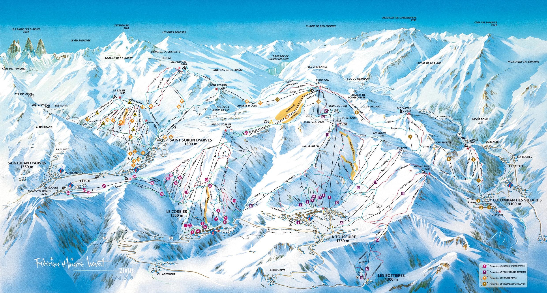 Lyžařská mapa sjezdovek areálu Les Sybelles