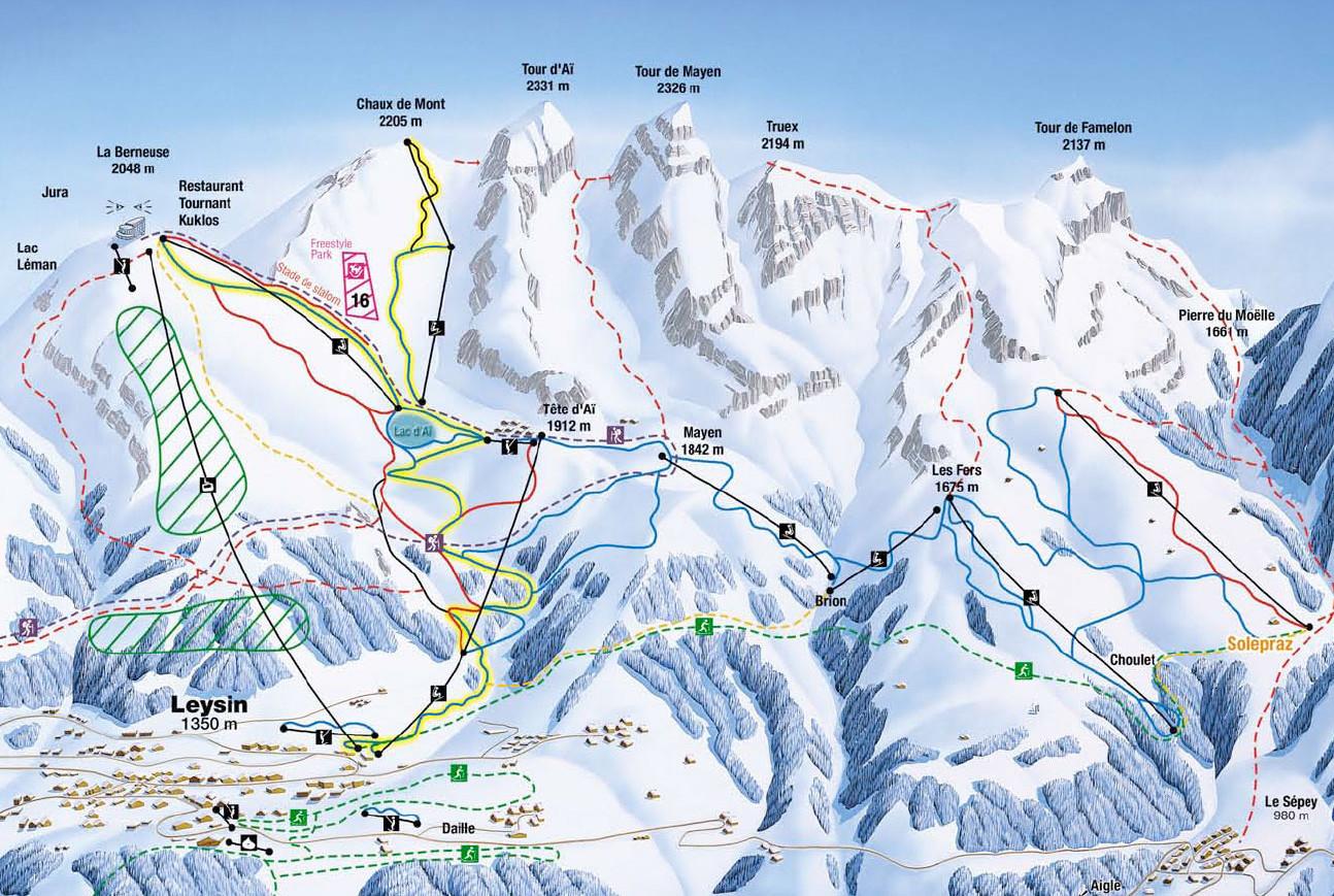 Lyžařská mapa sjezdovek areálu Leysin