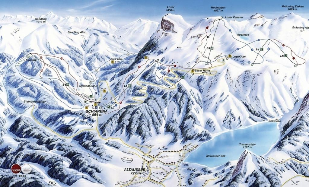 Lyžařská mapa sjezdovek areálu Loser - Altaussee