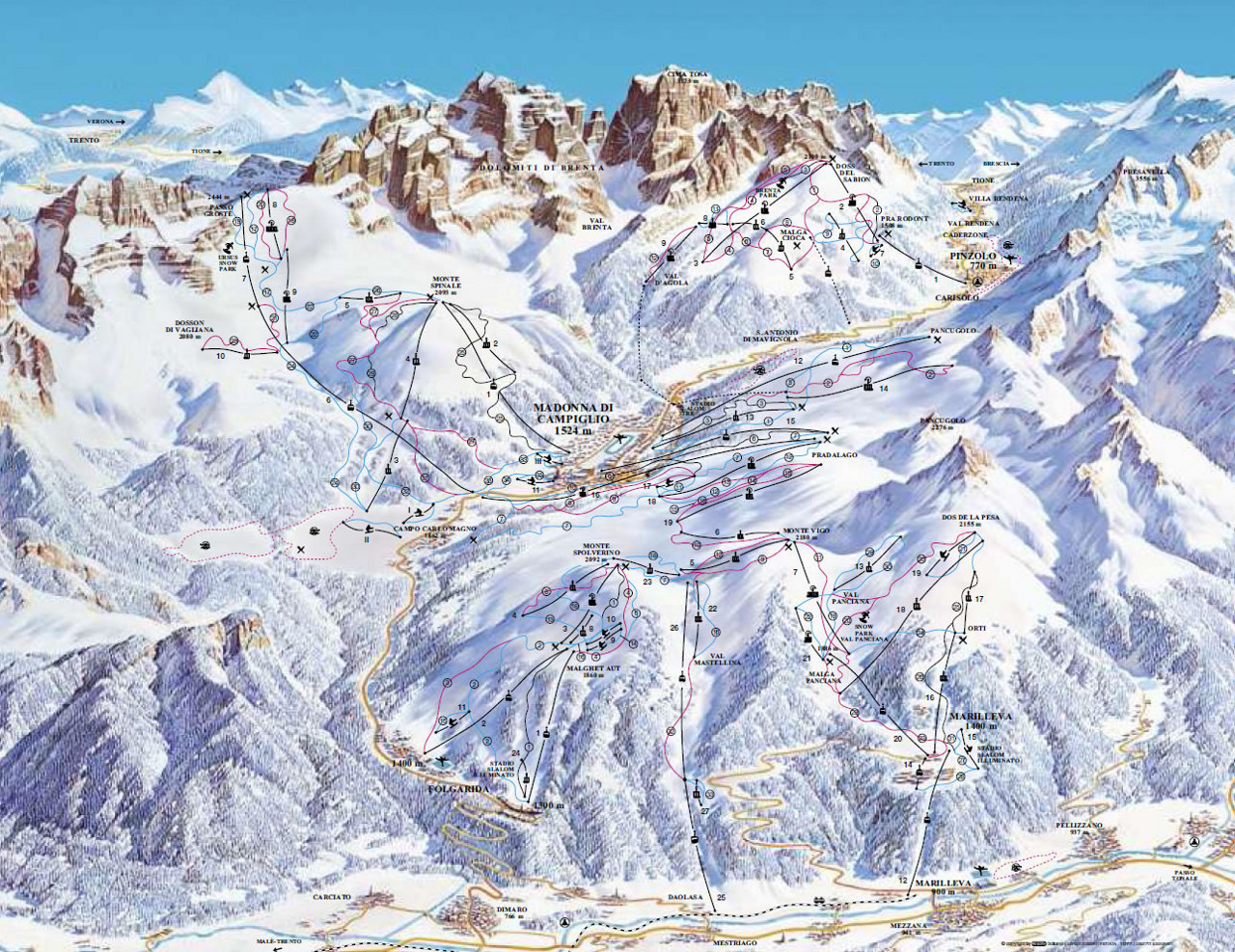 Lyžařská mapa sjezdovek areálu Madonna di Campiglio / Pinzolo / Folgarida - Marilléva
