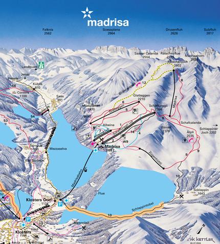 Lyžařská mapa sjezdovek areálu Madrisa