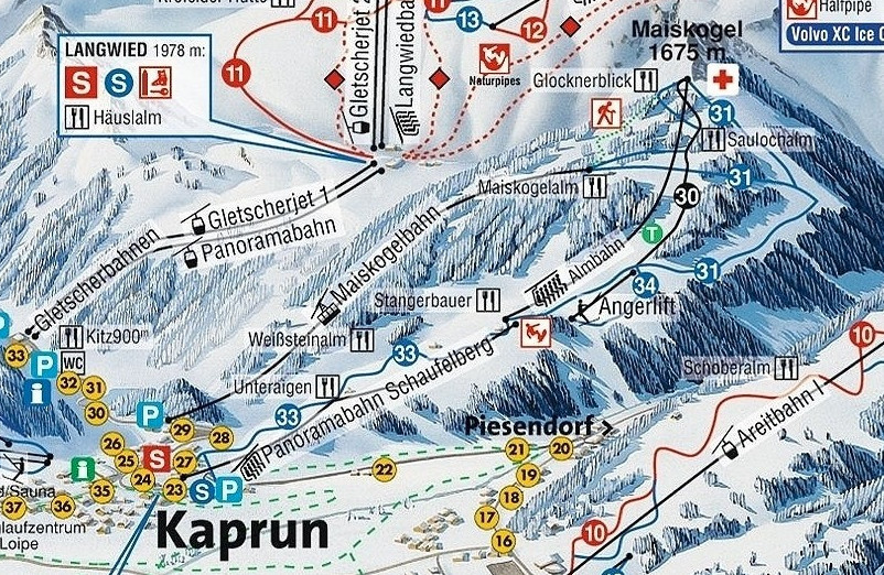 Lyžařská mapa sjezdovek areálu Maiskogel