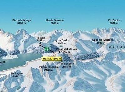 Lyžařská mapa sjezdovek areálu Maloja