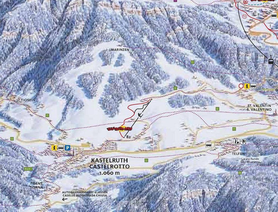 Lyžařská mapa sjezdovek areálu Marinzen