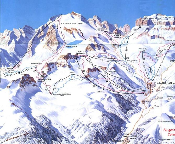 Lyžařská mapa sjezdovek areálu Marmolada