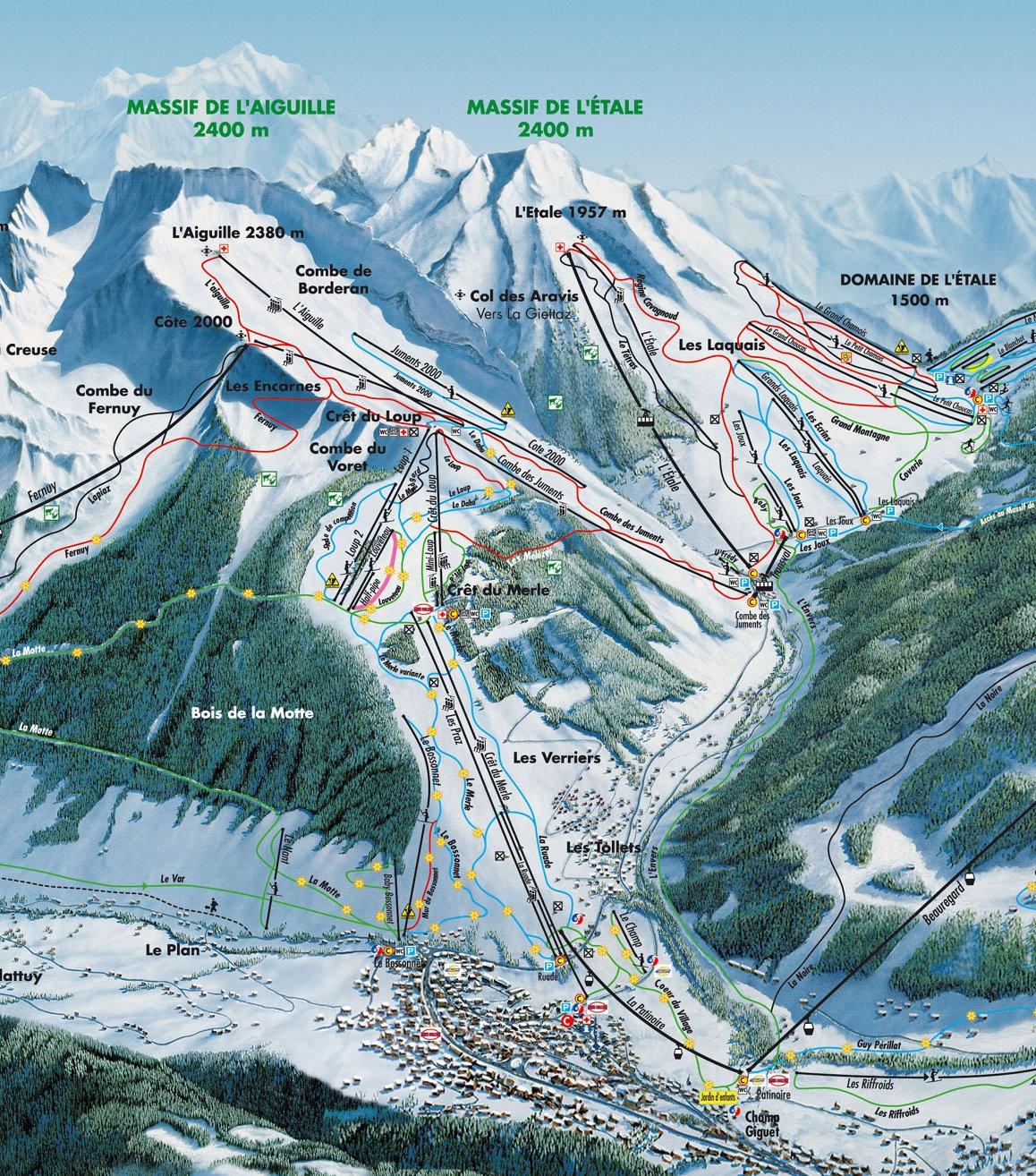 Lyžařská mapa sjezdovek areálu Massif de l'Aiguille