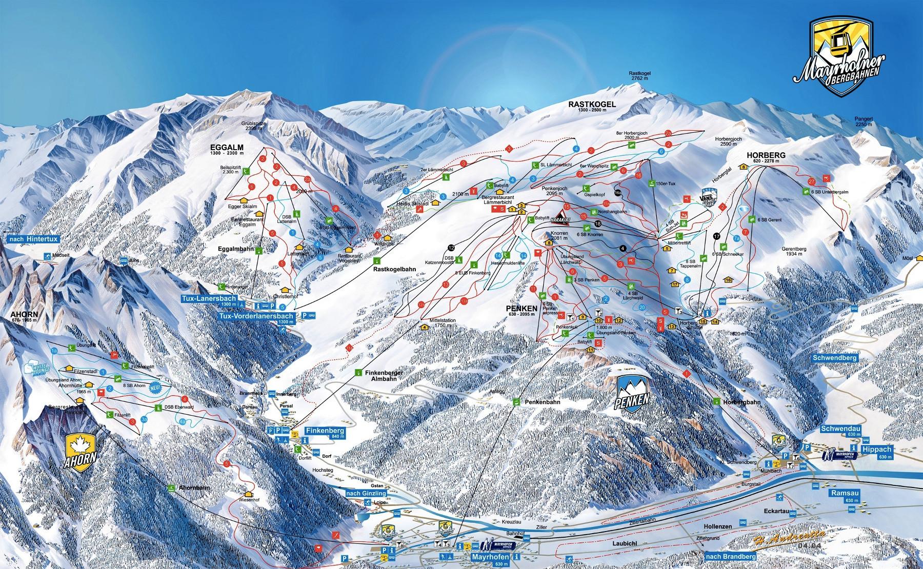 Lyžařská mapa sjezdovek areálu Mayrhofen (Ahorn a Penken)