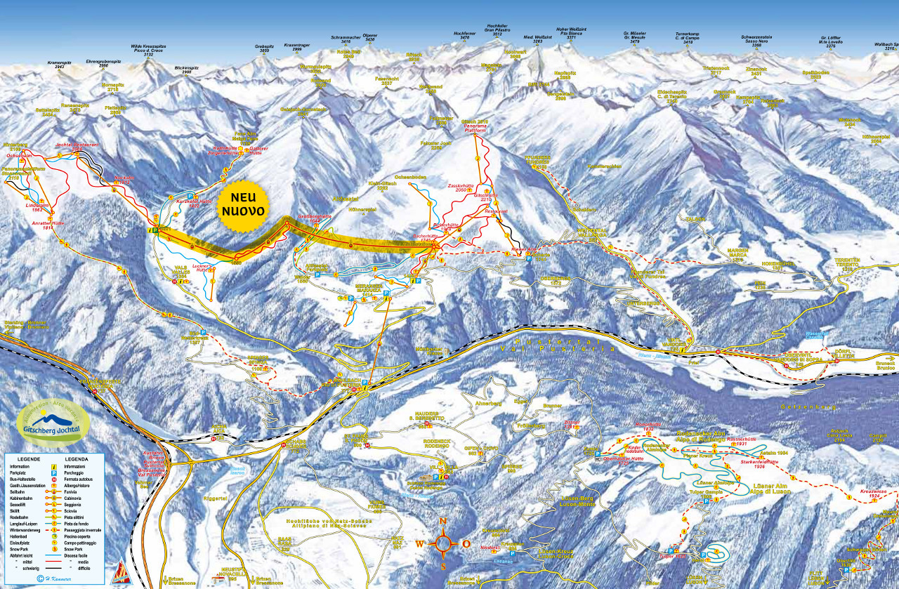 Lyžařská mapa sjezdovek areálu Meransen / Gitschberg