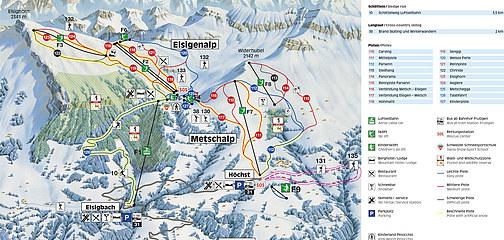 Lyžařská mapa sjezdovek areálu Metschalp