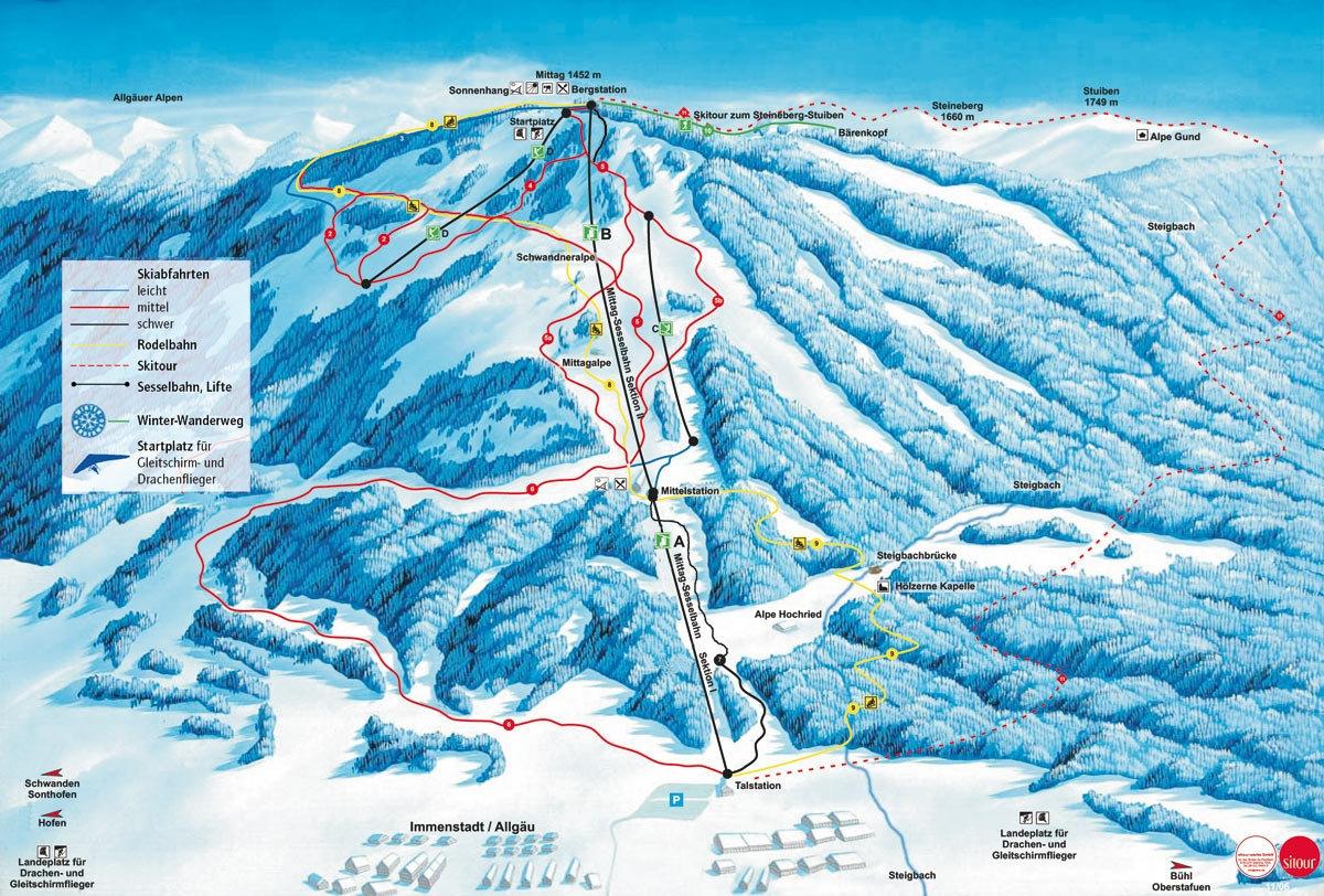 Lyžařská mapa sjezdovek areálu Mittag