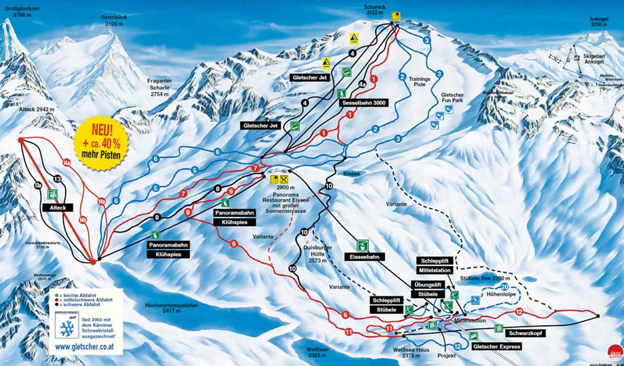 Lyžařská mapa sjezdovek areálu Ledovec Mölltal