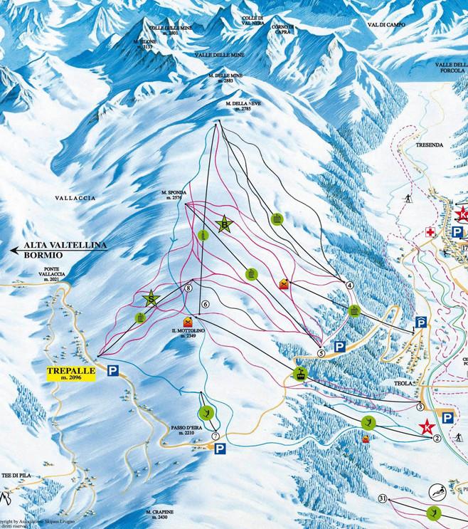 Lyžařská mapa sjezdovek areálu Livigno