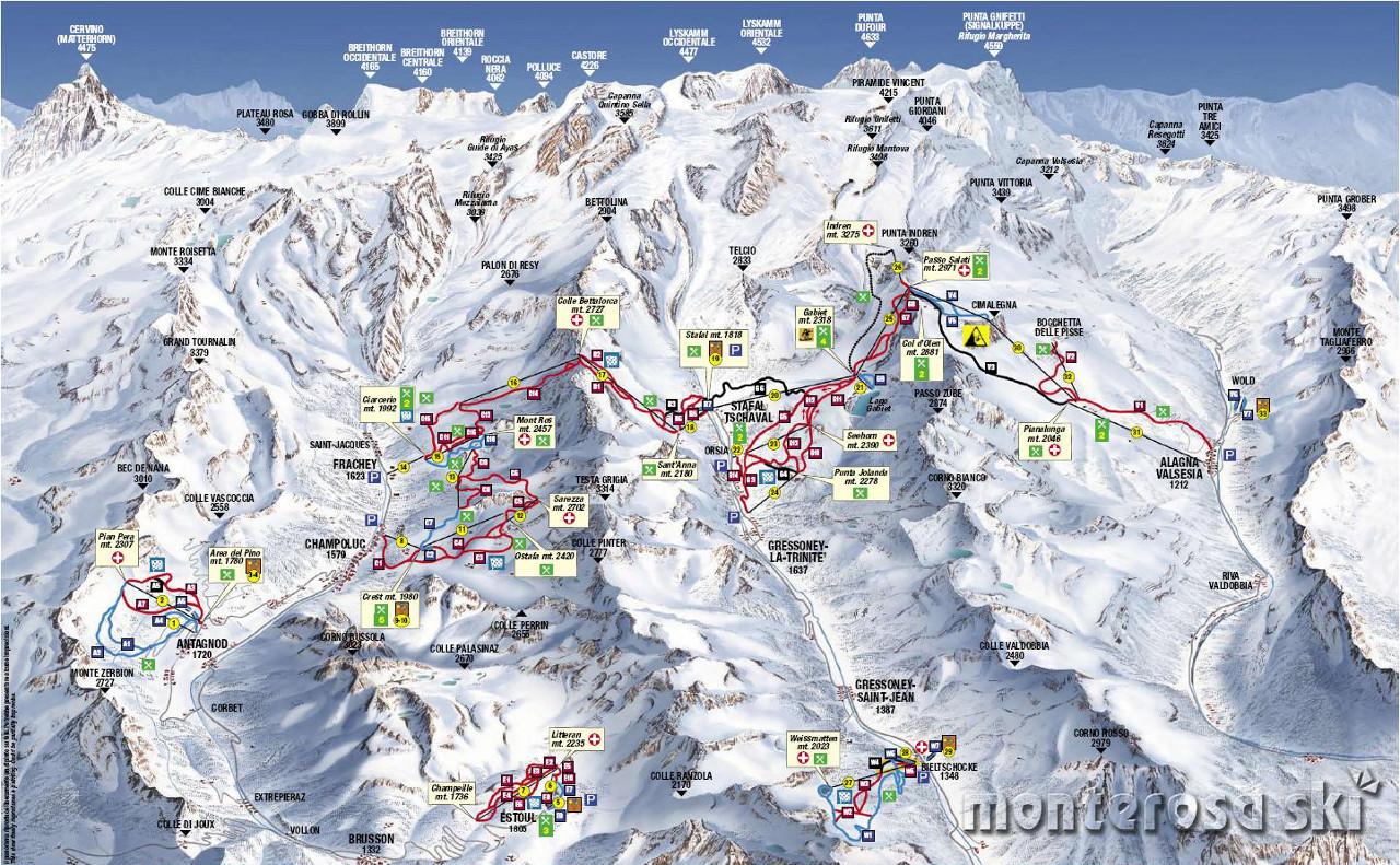 Lyžařská mapa sjezdovek areálu Courmayeur / Chécrouit-Val Veny