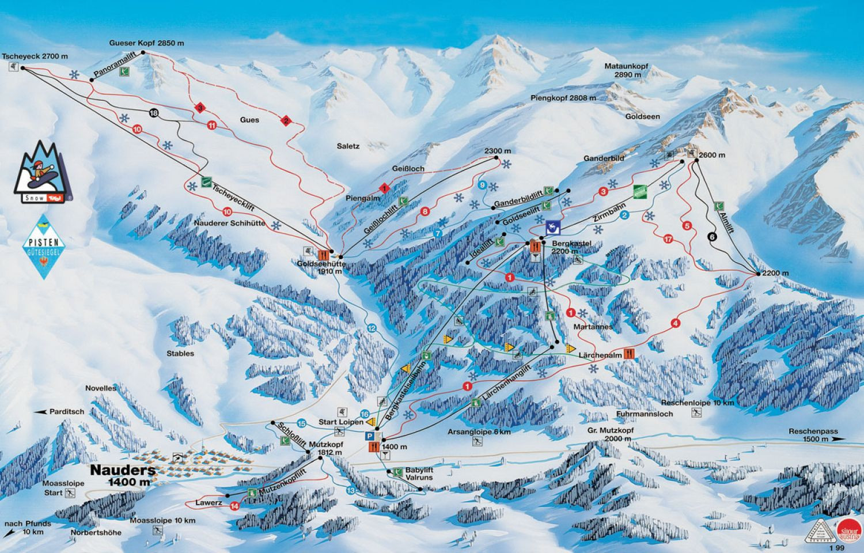 Lyžařská mapa sjezdovek areálu Nauders am Reschenpass / Bergkastel