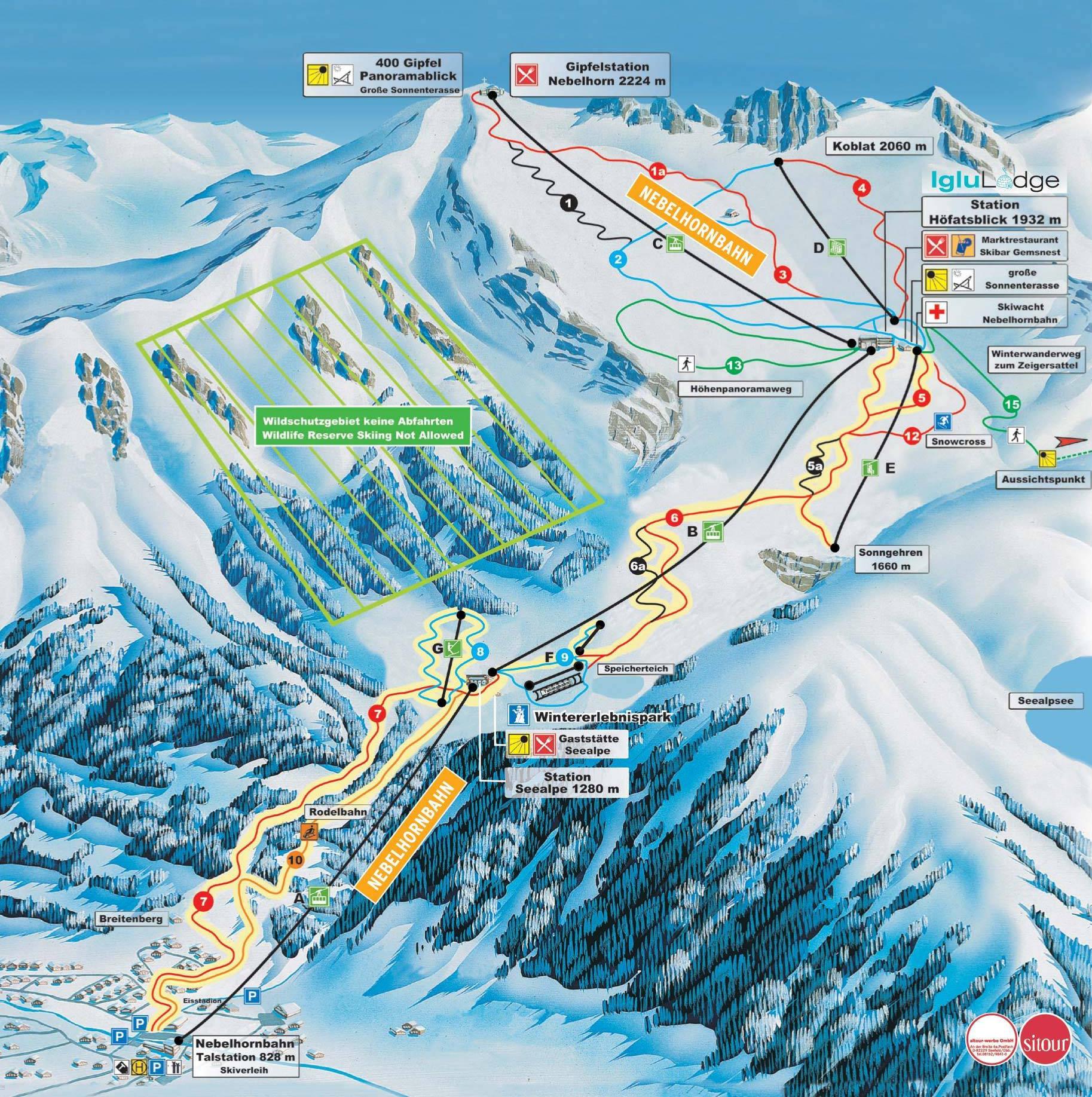 Lyžařská mapa sjezdovek areálu Nebelhorn