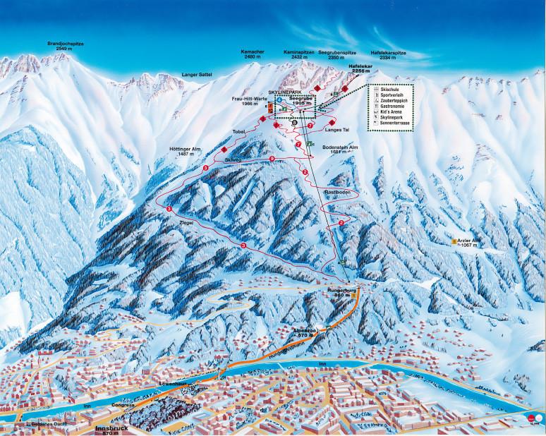 Lyžařská mapa sjezdovek areálu Nordkette