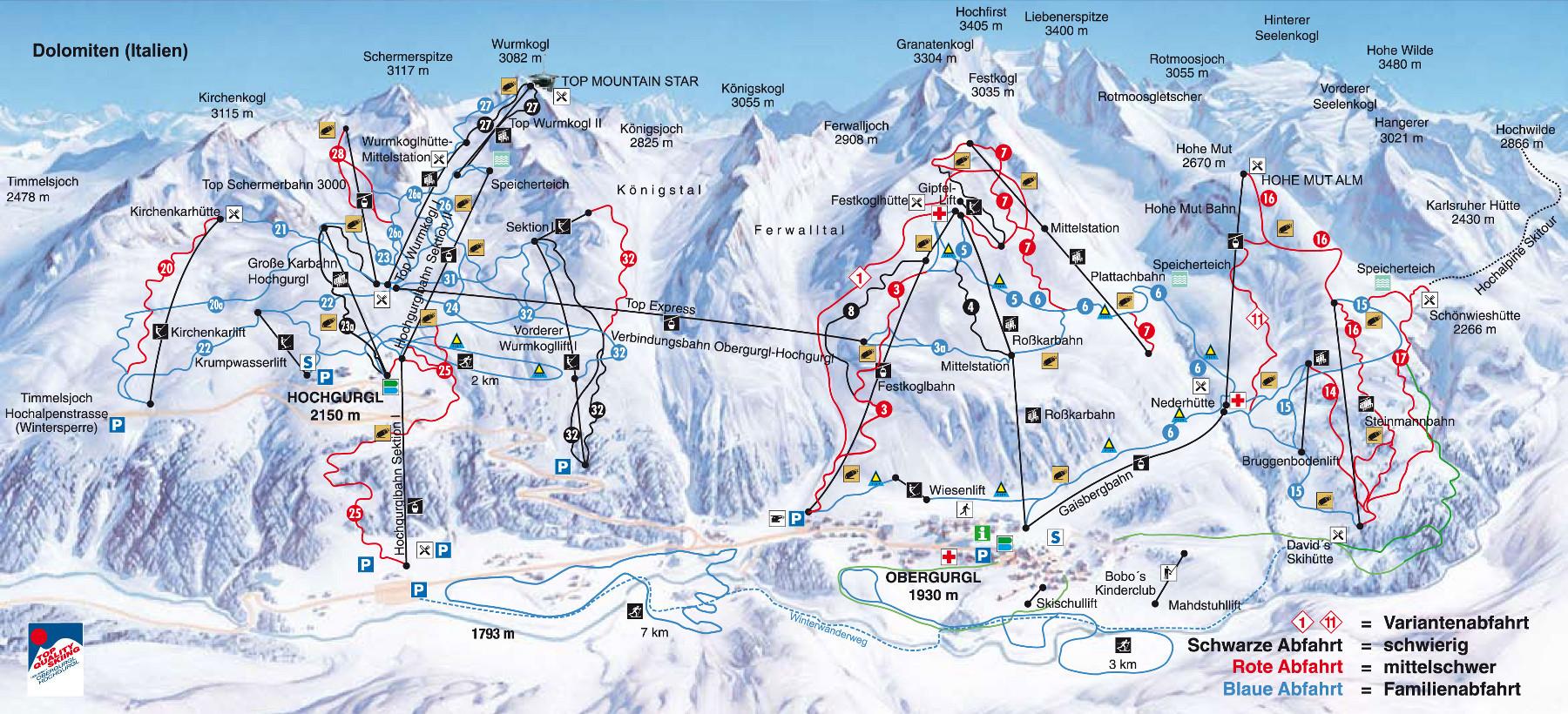 Lyžařská mapa sjezdovek areálu Obergurgl / Hochgurgl