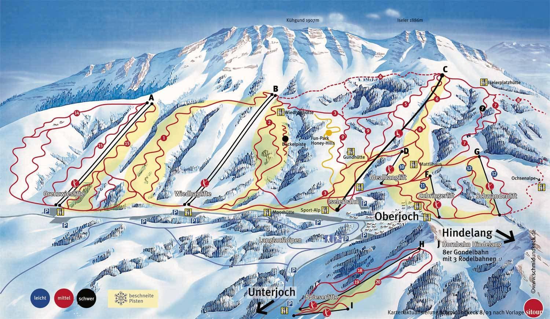 Lyžařská mapa sjezdovek areálu Oberjoch - Bad Hindelang