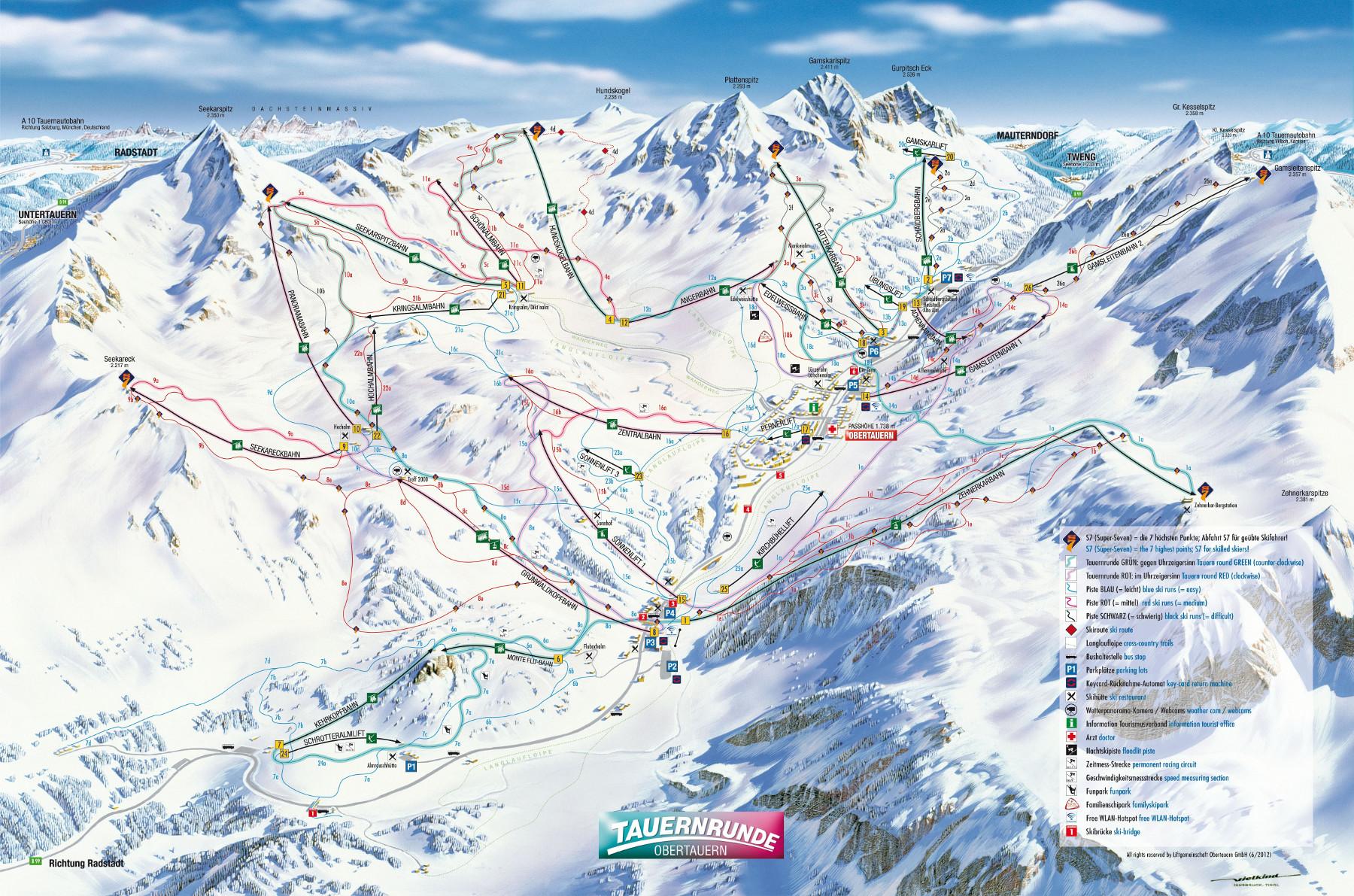 Lyžařská mapa sjezdovek areálu Obertauern