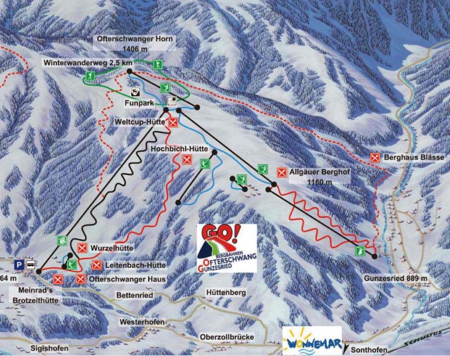 Lyžařská mapa sjezdovek areálu Ofterschwang