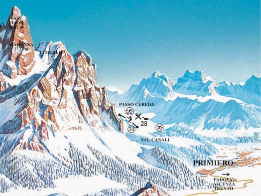 Lyžařská mapa sjezdovek areálu Passo Cereda