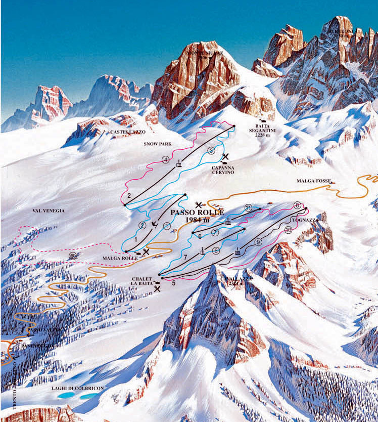 Lyžařská mapa sjezdovek areálu Passo Rolle