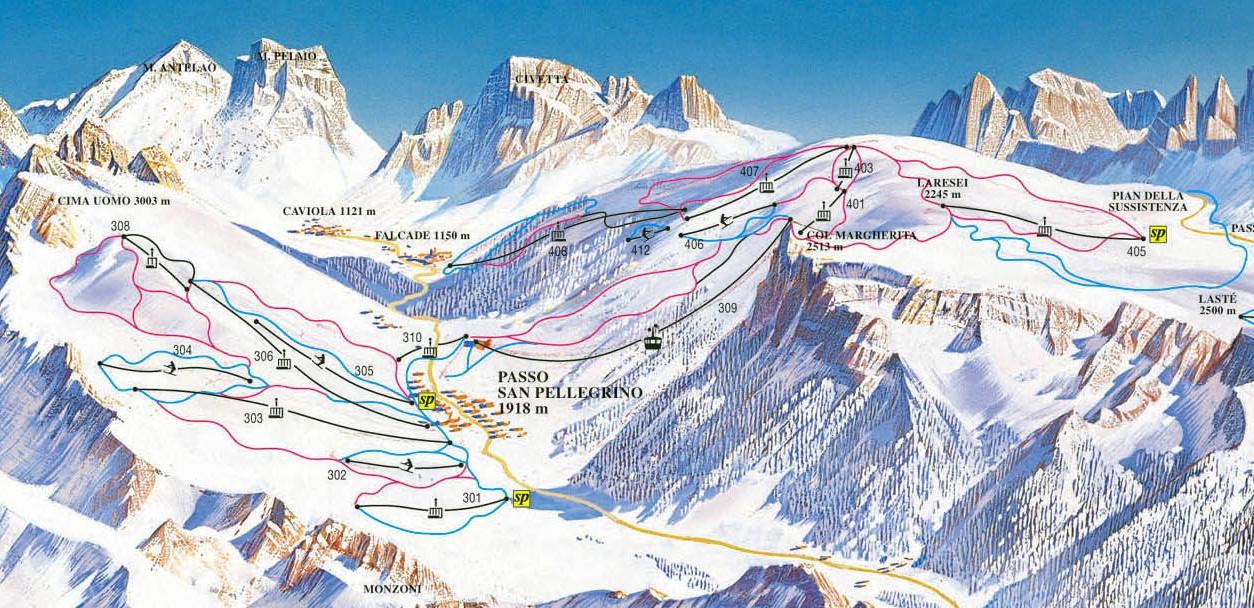 Lyžařská mapa sjezdovek areálu Passo San Pellegrino - Col Margherita - Falcade