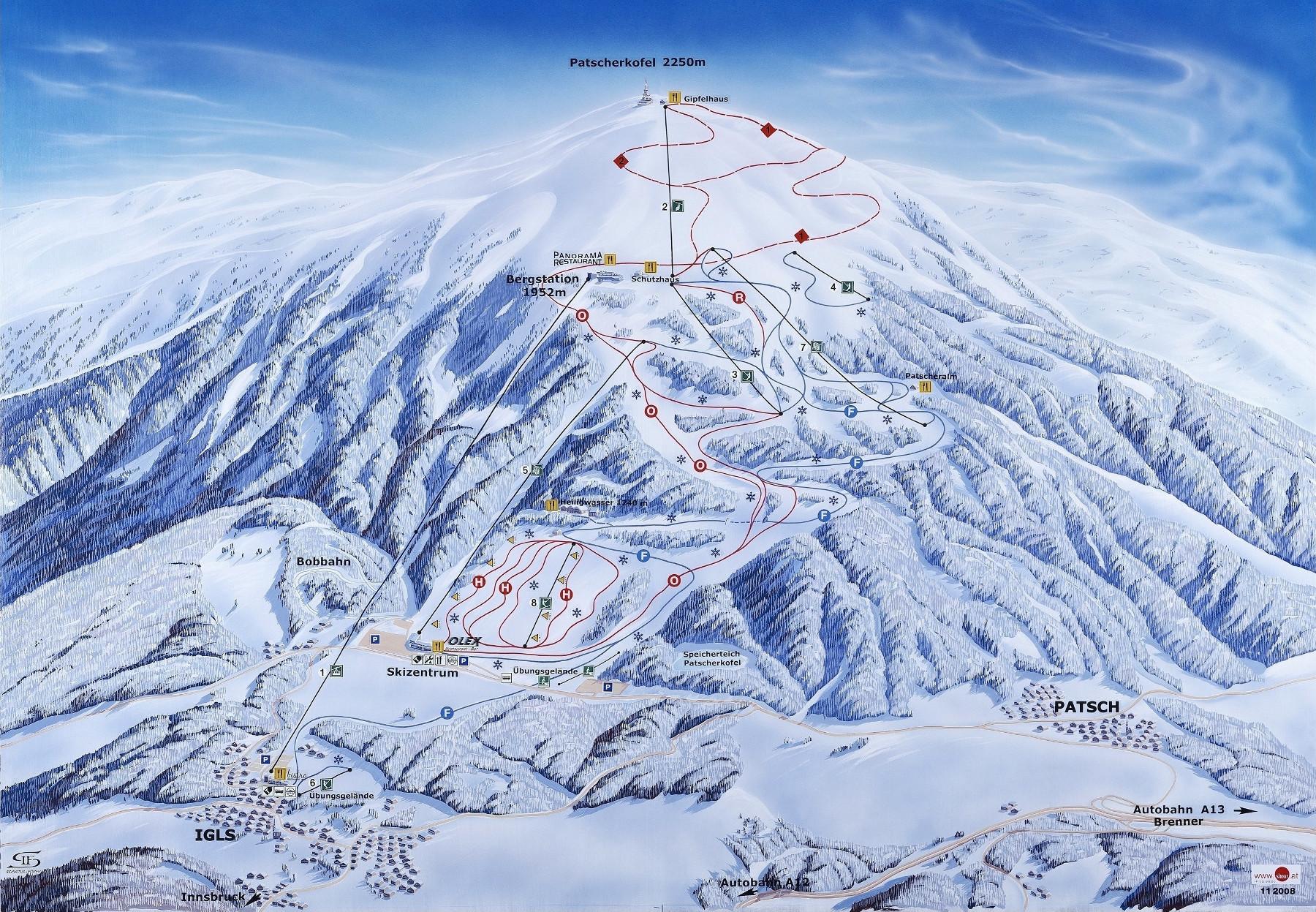 Lyžařská mapa sjezdovek areálu Patscherkofel