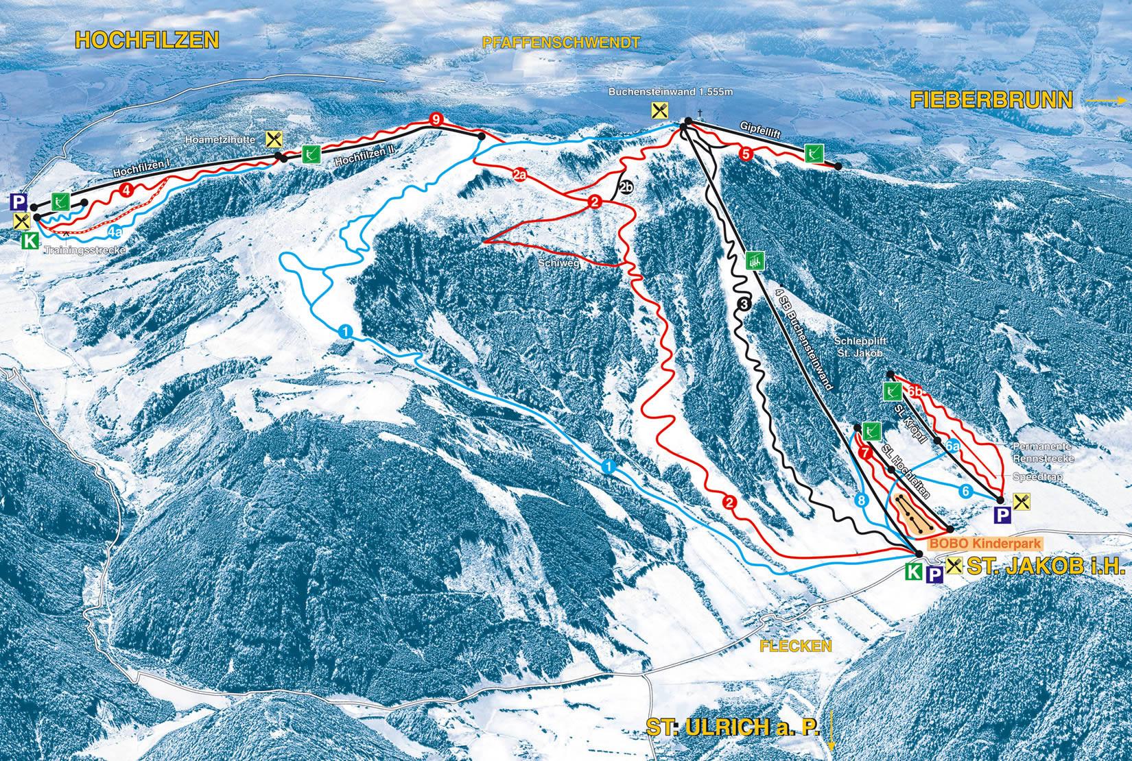 Lyžařská mapa sjezdovek areálu Pillersee - Buchensteinwand