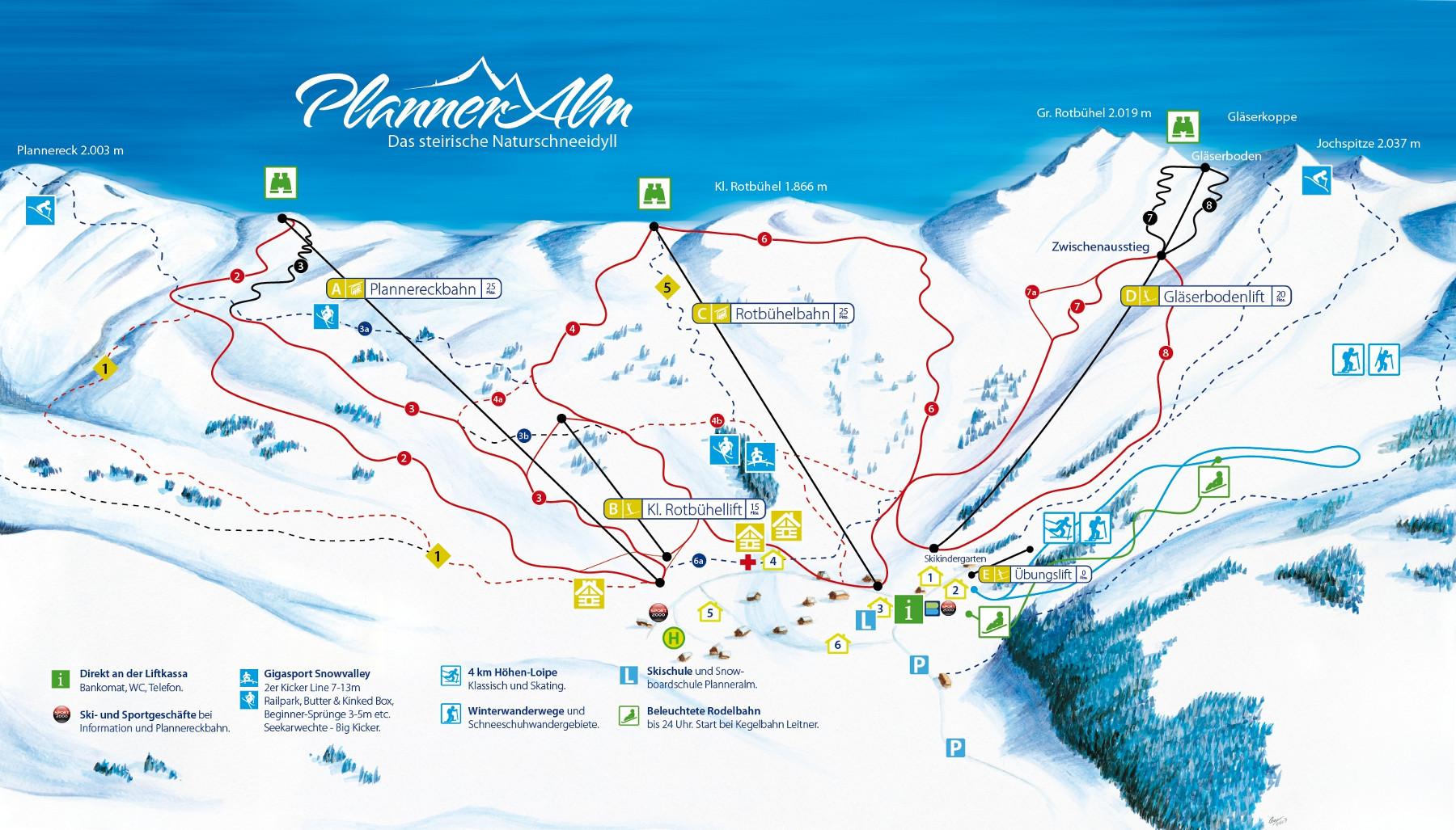 Lyžařská mapa sjezdovek areálu Donnersbach / Planneralm