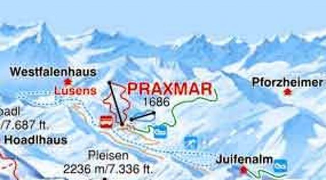 Lyžařská mapa sjezdovek areálu Praxmar