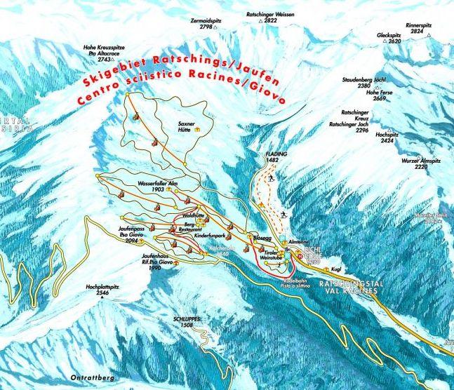 Lyžařská mapa sjezdovek areálu Ratschings