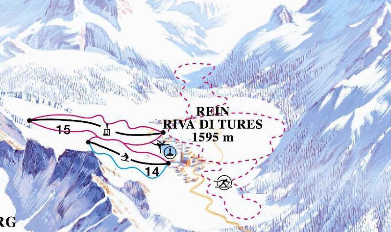 Lyžařská mapa sjezdovek areálu Rein