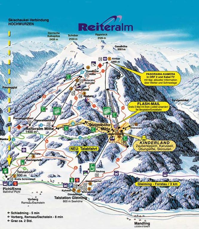 Lyžařská mapa sjezdovek areálu Reiteralm