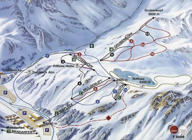 Lyžařská mapa sjezdovek areálu Rifflsee