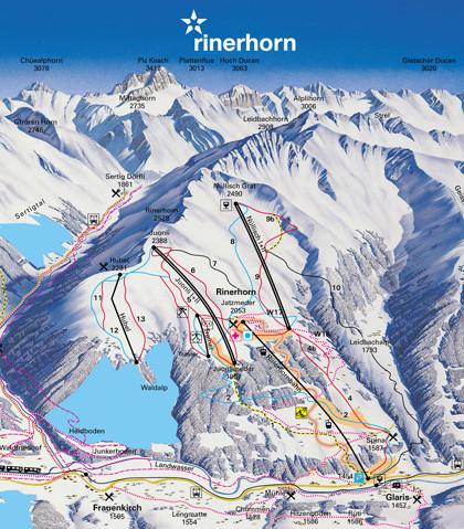 Lyžařská mapa sjezdovek areálu Rinerhorn