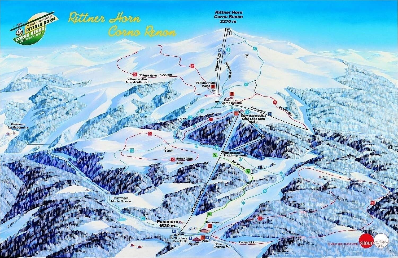 Lyžařská mapa sjezdovek areálu Rittnerhorn