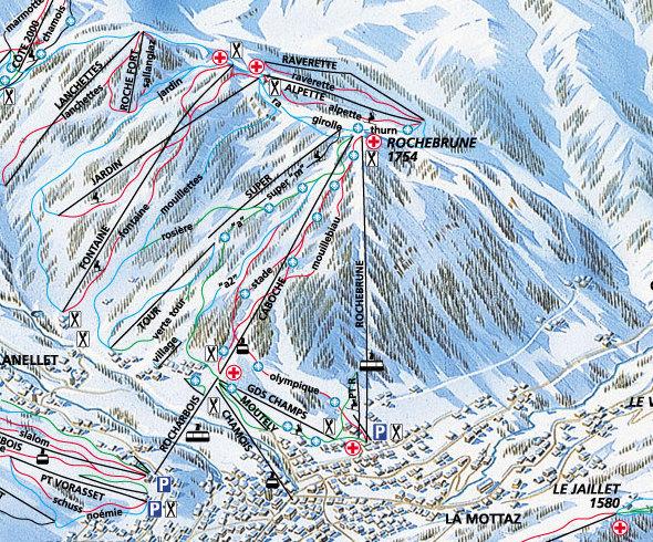 Lyžařská mapa sjezdovek areálu Rochebrune / Côte 2000