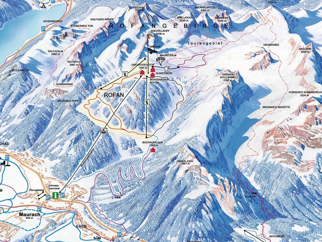 Lyžařská mapa sjezdovek areálu Rofan
