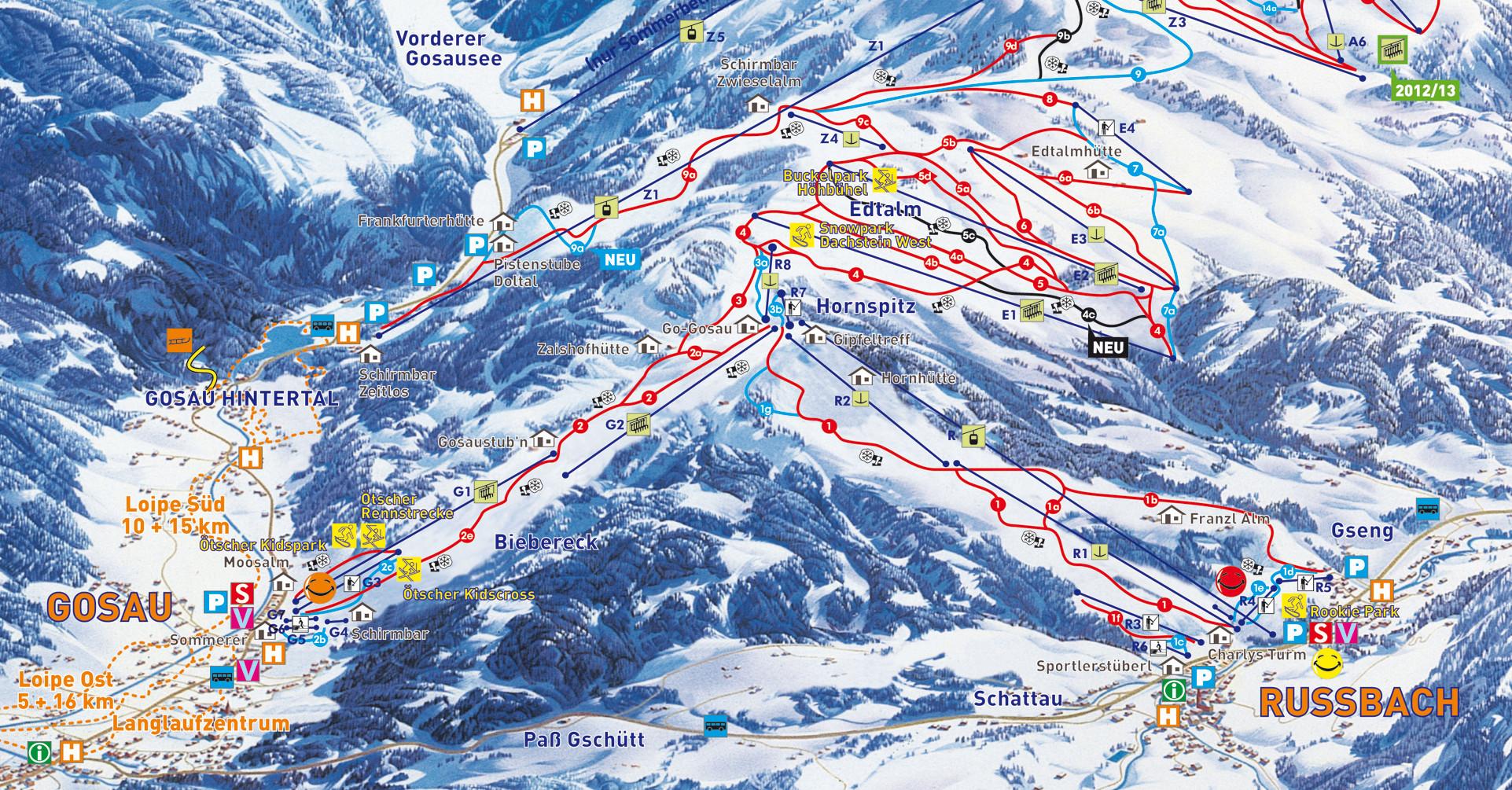 Lyžařská mapa sjezdovek areálu Dachstein West