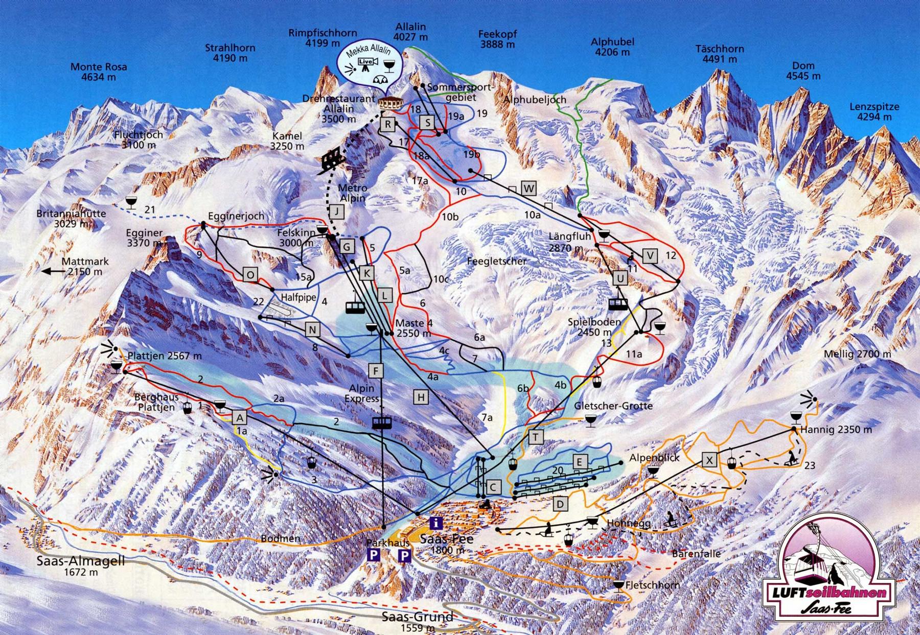 Lyžařská mapa sjezdovek areálu Saas - Fee