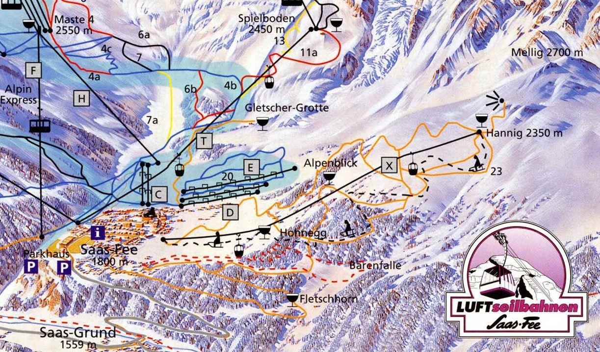 Lyžařská mapa sjezdovek areálu Saas - Grund