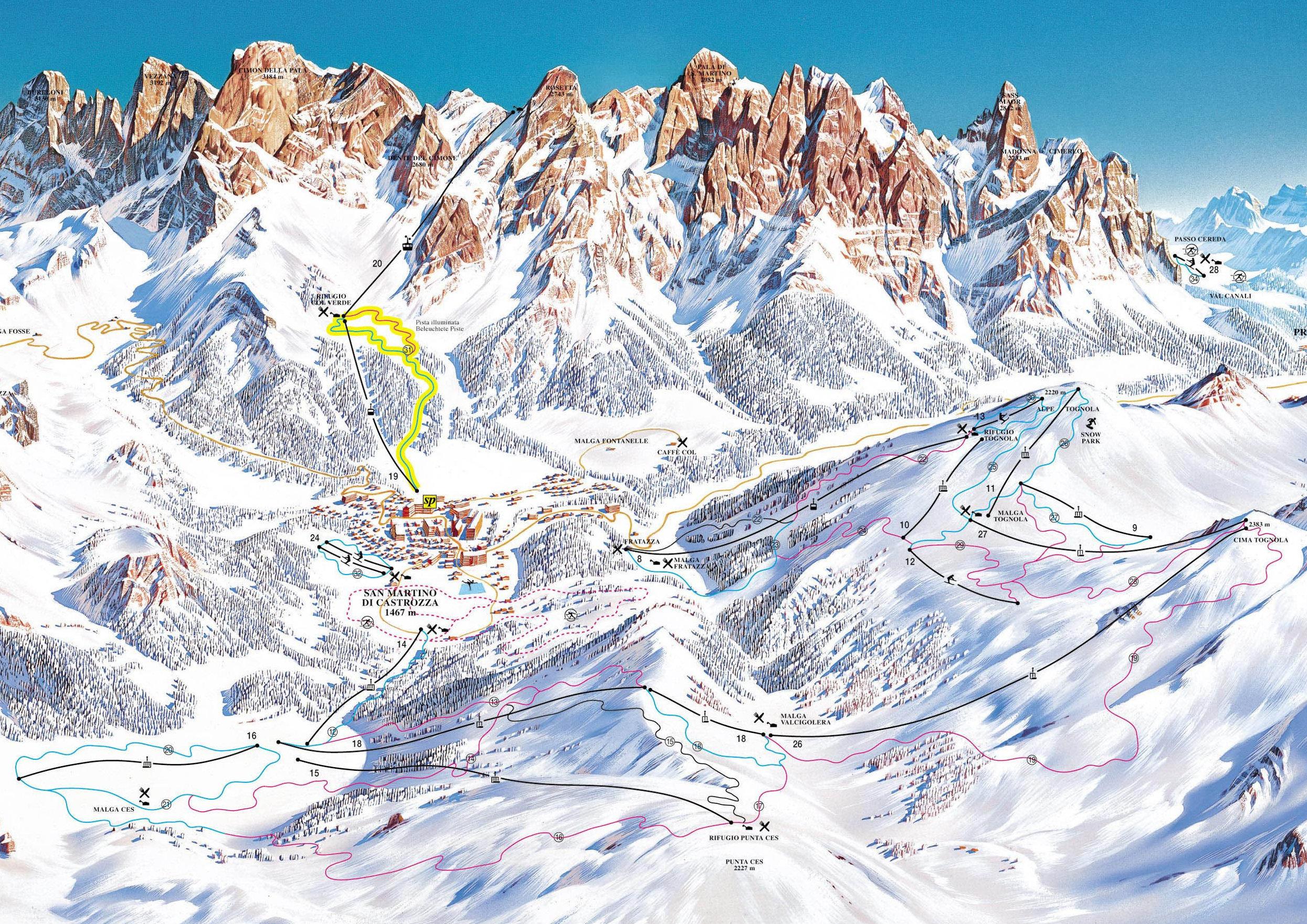 Lyžařská mapa sjezdovek areálu San Martino di Castrozza