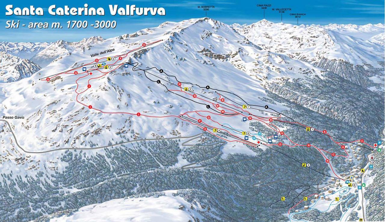 Lyžařská mapa sjezdovek areálu Santa Caterina / Valfurva