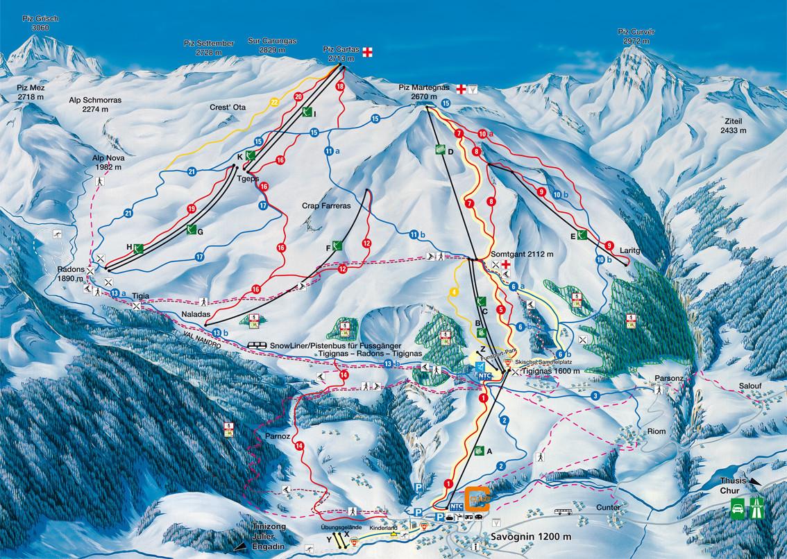 Lyžařská mapa sjezdovek areálu Savognin