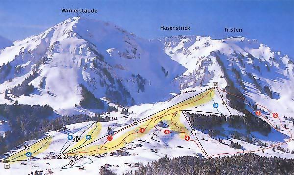 Lyžařská mapa sjezdovek areálu Schetteregg