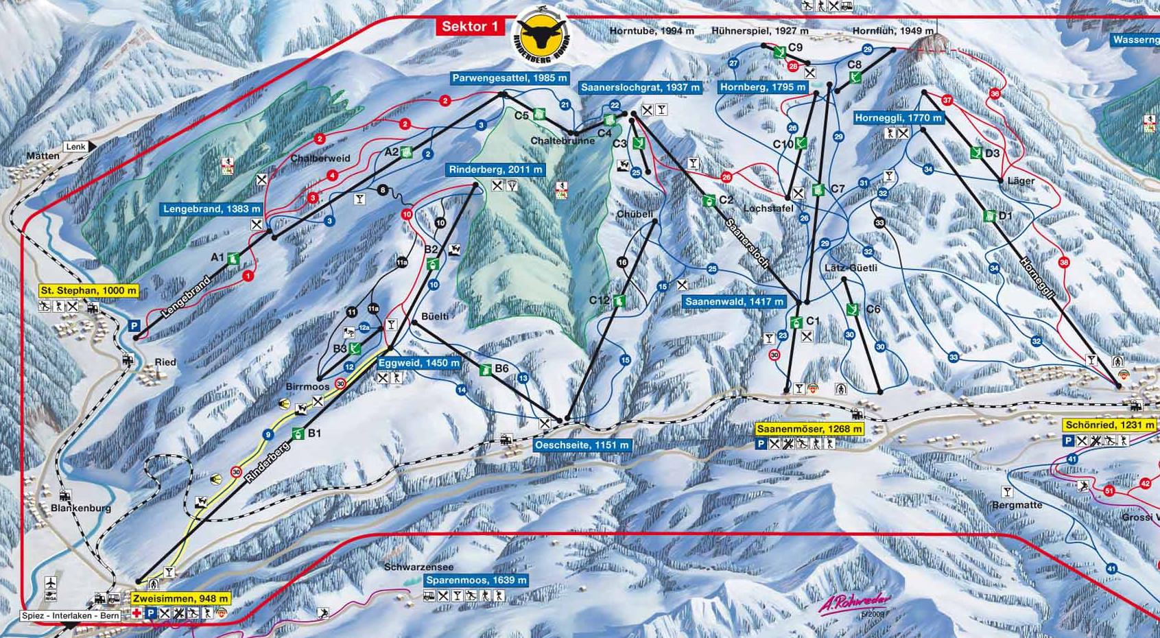 Lyžařská mapa sjezdovek areálu Rinderberg - Saanerslochgrat