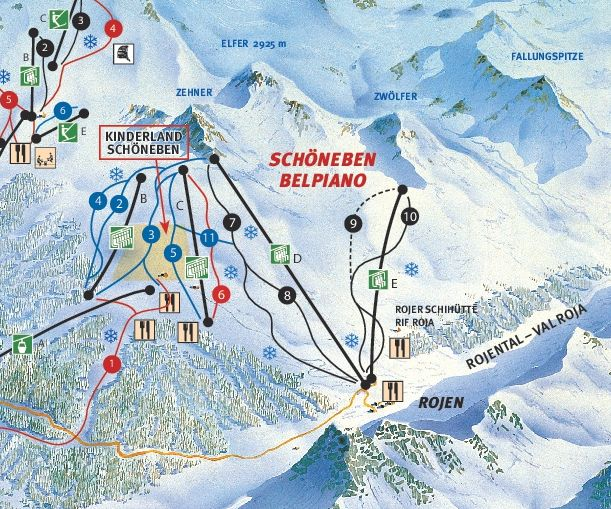 Lyžařská mapa sjezdovek areálu Schöneben / Rojen
