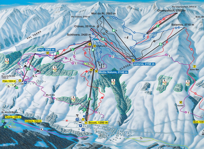 Lyžařská mapa sjezdovek areálu Scuol