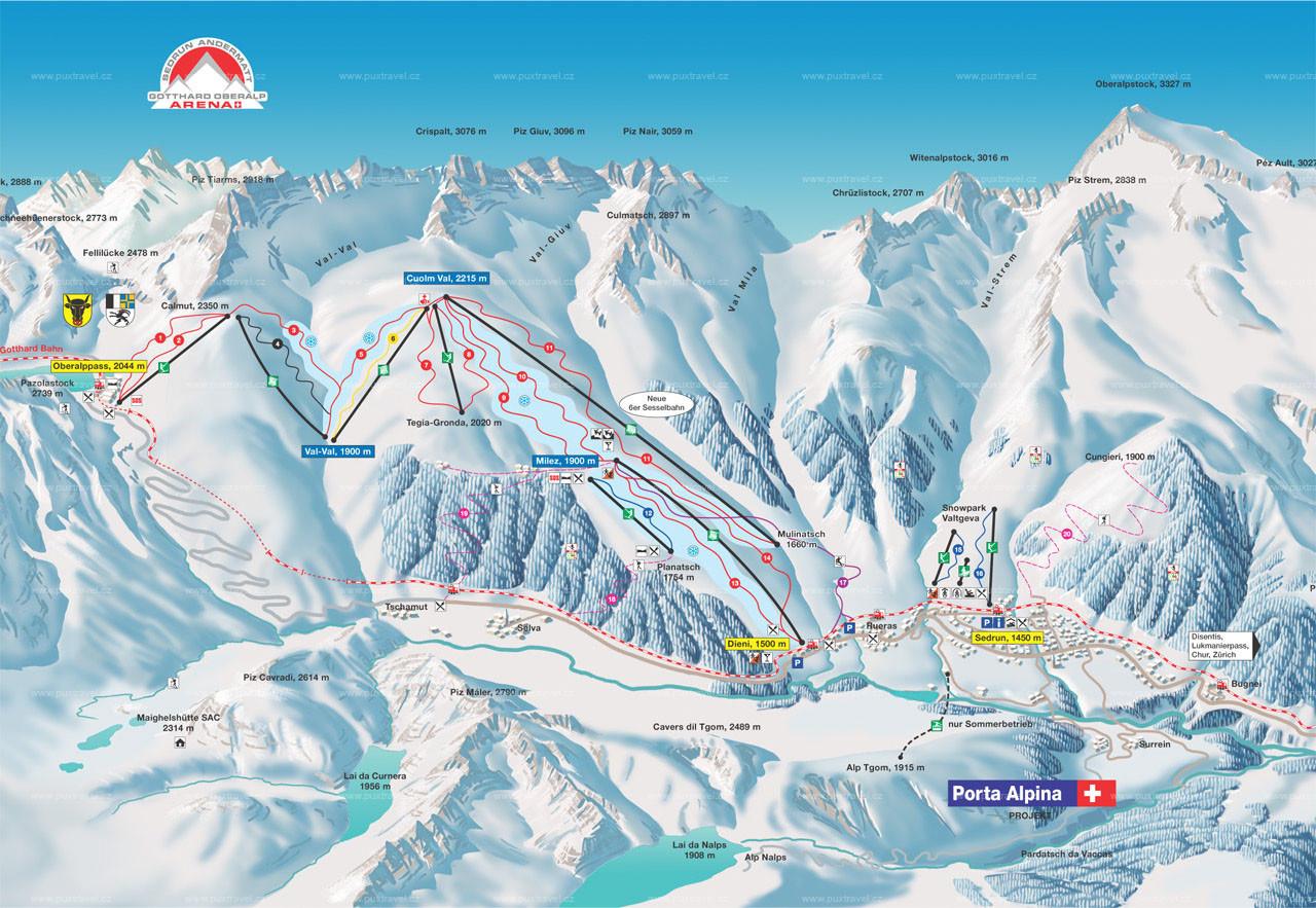 Lyžařská mapa sjezdovek areálu Sedrun Oberalp